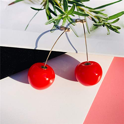 Peigen Red Cherry Pendant Earrings Ladies Jewelry Sweet Fruit Long Gold Eardrop Ear Stud Party Earrings for Ladies Jewelry