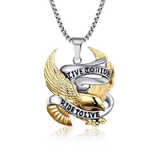 Ride to Live Pendant Necklace for Male Stainless Steel Jewellery 24 inch Ships from: China, Length: 60cm Davitu Bold and Edgy Biker Men JewelryLive to Ride