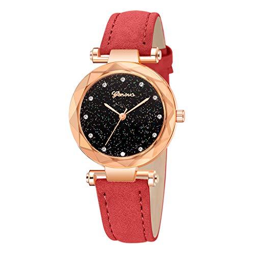 - Londony✡Women's Watches Leather Rhinestone Inlaid Quartz Jelly Wristwatch Geneva Chronograph Watch with Crystals Link