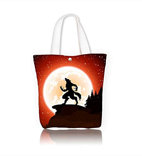 Canvas Shoulder Hand Bag halloween night and werewolf on moon women Large Work tote Bag Shoulder Travel Totes Beach W22xH15.7xD7 INCH