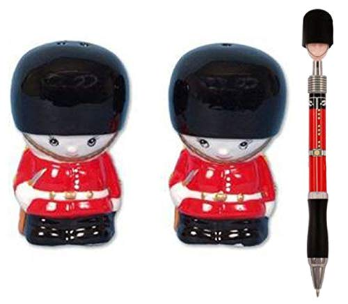 (British London Royal Queen's Guardsman Salt & Pepper Pot + Guardsman Ballpoint Pen)