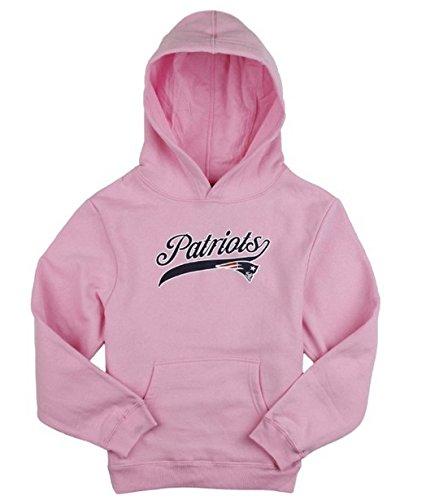 New England Patriots NFL Big Girls Football Hoodie - Pink (Large (14))