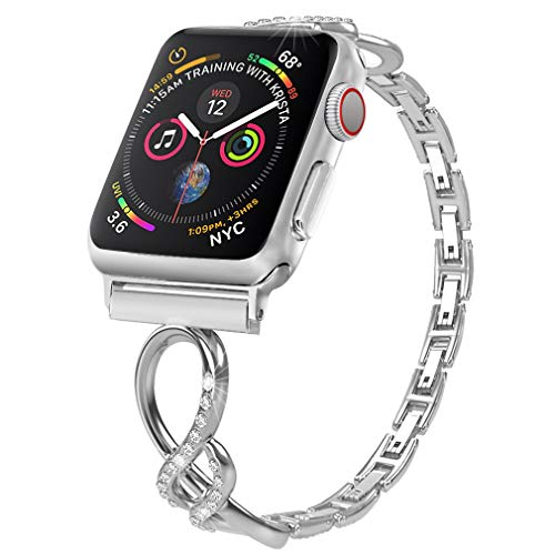 Biaoge Bling Metal Band Compatible for Apple Watch Band Series 4 40mm 44mm/ iWatch Series 3 2 1 38mm 42mm, Wristband Strap Cuff Bangle ()