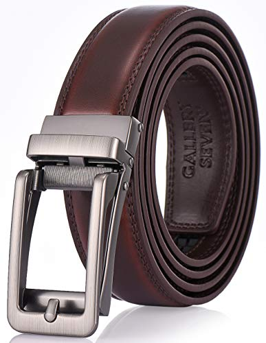 Gallery Seven Leather Ratchet Belt For Men - Adjustable Click Belt - Casual Dress Belt - Mahogany - Style 17 - Adjustable from 38'' to 54'' Waist by Gallery Seven (Image #6)