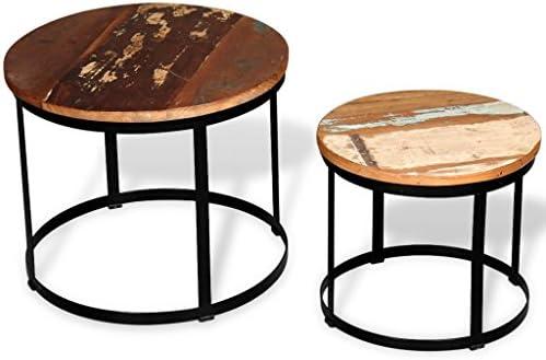 Bulk Ontwerpen Festnight salontafel van massief hout, rond, modern design, 2 stuks  tmAZstV
