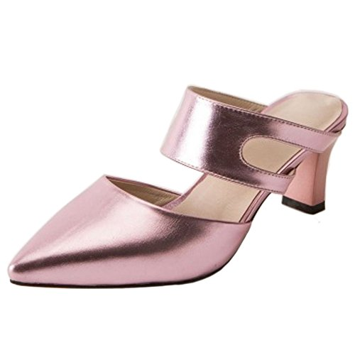 Toe Closed Heels Mules Pink 1 Women Summer Shoes TAOFFEN aqtIZA