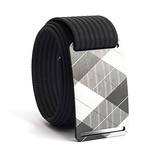 30 Inch Gunmetal Plaid Belt Buckle w/Black Strap