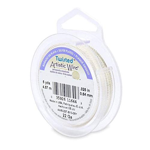 - Artistic Wire 22 Gauge Twisted Silver Plated Non-Tarnish Silver Wire 5 Yards