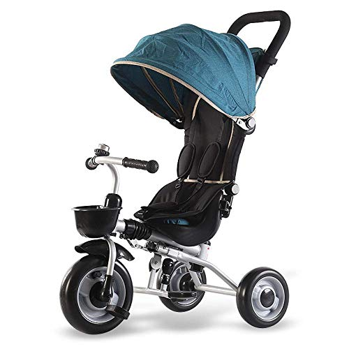Childrens Tricycle Childrens Folding Tricycle 6 Months To 6 Years Light And Sturdy Kids Tricycle Detachable And Adjustable Push Handle 3-Point Safety Belt Folding Sun Canopy Child Trike Maximum Weight