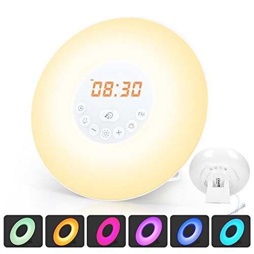 Wake Up Light, totobay Alarm Clock {2nd Generation} Sunrise Simulation Snooze Function Night Light with Nature Sounds, FM Radio, Touch Control and USB Charger for bedside and kids