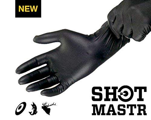 - SHOTMASTR Premium Long Cuff Nitrile Gloves [Black, 30-Pack]