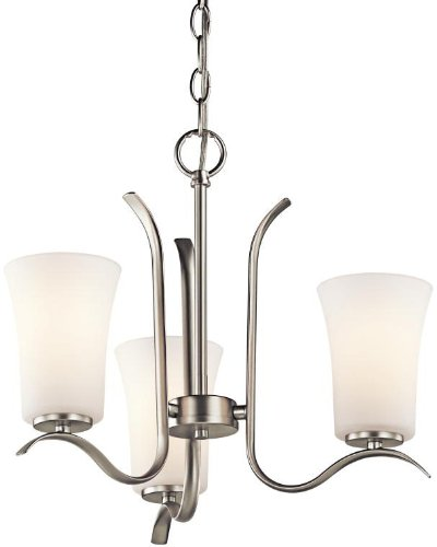 Kichler 43073NI Armida Mini Chandelier 3-Light, Brushed Nickel