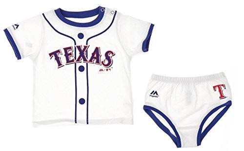 MLB Texas Rangers Infants Baby Boy Player Tee & Bottom Set, White (18 Months)