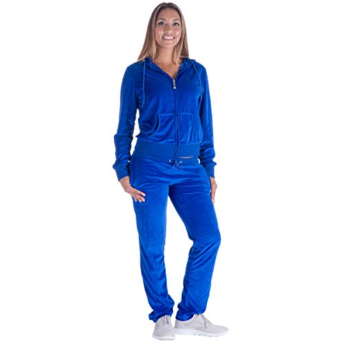 Black Grey Womens Velvet Zip Hooded Sweatshirt Athletic Soft Plus Size Hooded and Sweat Pants Tracksuit Set (S, Royal)
