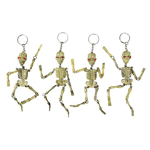 Kicko 6 Inch Skeleton Keychain - 12-Pack Mini Backpack Hook - Keyring for Bag and Belt Loop Accessory, Halloween Decor, Arts and Crafts, Educational Tool, Party Favors -