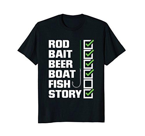 Mens Funny Fishing T-Shirt - Rod Bait Beer Boat (No) Fish Story 2XL Black