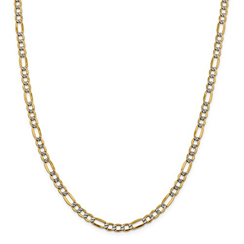 14k Yellow Gold And Rhodium Plated 5.25mm Semi Solid Figaro Chain Necklace 20inch 14k Yellow Gold Rhodium Plated