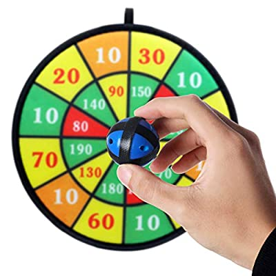 BETTERLINE Kids Dart Board Game with 6 Balls Using Hook-and-Loop Fasteners | 11.8 Inches (30 cm) Diameter | Classic Dartboard Game and Safe for Kids (Green and Yellow): Toys & Games
