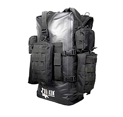 Drakon Outdoors 40L Waterproof Dry Bag Backpack - Roll Top Survival Go-Bag Perfect for Hunting, Camping, Boating, Kayaking - Black Padded Adjustable Straps with MOLLE System by Drakon Outdoor Equipment