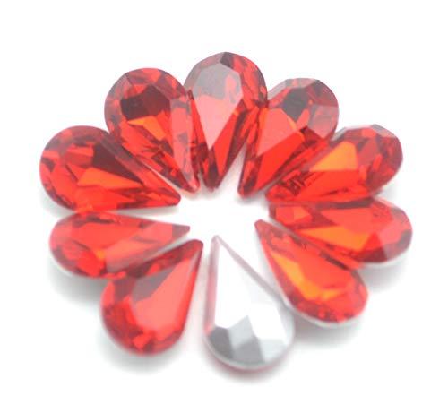 (Catotrem Crystal Clear Teardrop Loose Rhinestones Silver Plated Rhinestones Glass Decor Crafts 6x10mm(60pcs-Red))