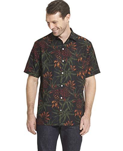 (Van Heusen Men's Air Tropical Short Sleeve Button Down Poly Rayon Shirt, Black 1, Large)