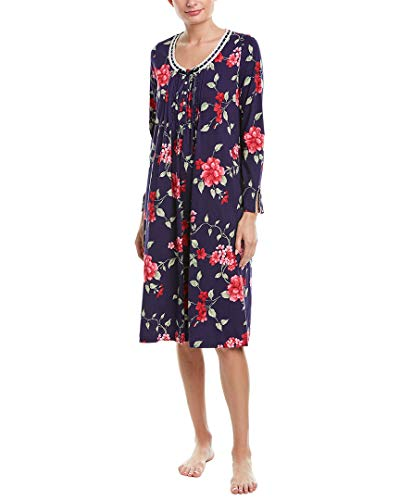 (Carole Hochman Women's Sleeve Long Nightgown, Large red Floral, L)