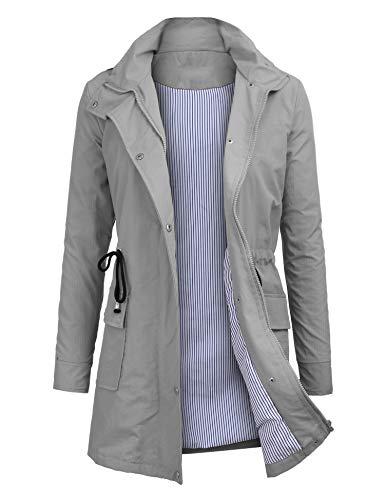 OUTAD Women's Rain Jacket Windbreaker Lightweight Waterproof Raincoats Outdoor Hooded Trench Coats Grey ()