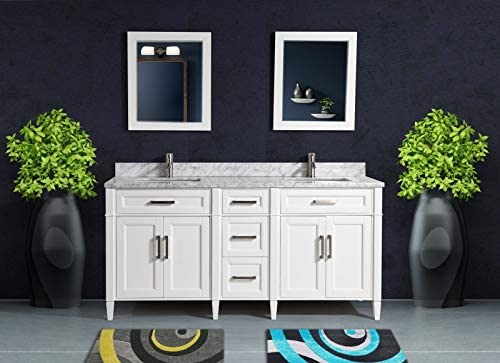 Vanity Art 72 Inch Double Sink Bathroom Vanity Set Carrara Marble Stone Top Soft Closing Doors Under-Mount Rectangle Sinks with Free Mirrors VA2072-DW
