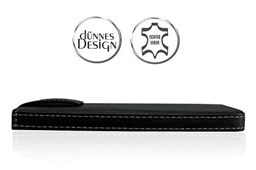 WIIUKA Echt Leder Tasche Apple iPhone 8, iPhone 7 und iPhone 6/6S Schwarz mit Rausziehband