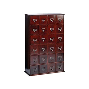 Multimedia Storage Cabinet Library Card Catalog Sewing Apothecary Craft Organizer Wood (Cherry)