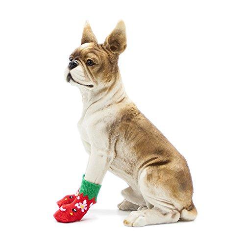 Calzino Rosso Siz Dimensioni 4 Cane Anti Autunno Inverno Cotone Per Antiscivolo Cani Color Usura Set Scarpe 8pcs Calde Piede sporco Red Pet Calze Cartone Di Animato Calza Fragola CwaYpqx