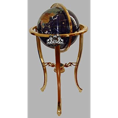 Unique Art 36-Inch by 13-Inch Floor Standing Blue Lapis Gemstone World Globe Gold Tripod: Home & Kitchen