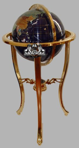 Unique Art 36-Inch by 13-Inch Floor Standing Blue Lapis Gemstone World Globe Gold Tripod