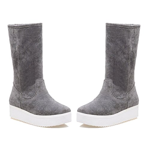 AgooLar Women's Low-Top Solid Pull-On Closed Round Toe Low-Heels Boots Gray PhaoiIbND