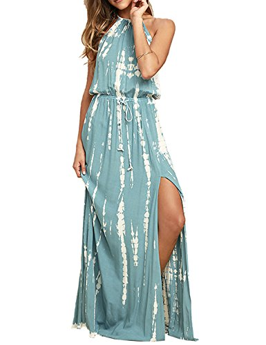 Blooming Jelly Women's Tie Back Halter Backless Drawstring Waist Tie Dye Split Summer Maxi (Halter Womens Maxi Dress)