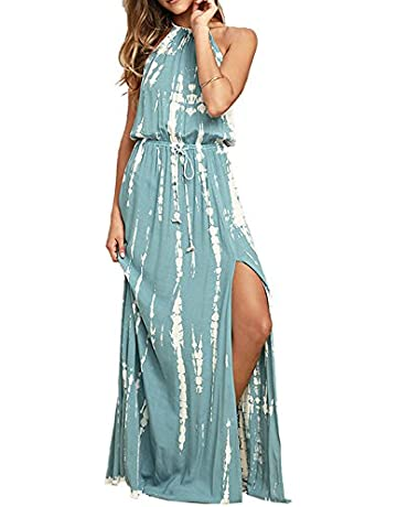 cf2849320e BMJL Women's Dresses Adjustable Waist Backless Halter Neck Split Tie Dye Sleeveless  Maxi Beach Boho Cocktail