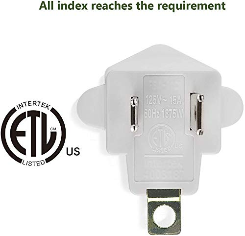 ETL Listed 3-2 Prong Grounding Outlet Adapter, JACKYLED 3 Prong to 2 Prong Adapter Converter, Portable Fireproof 200℃ Resistant Heavy Duty Wall Outlet Plug for Household Appliances Industrial, 4 Pack