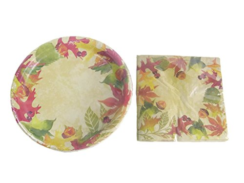 Fall Leaves Decorative Paper Plates, Napkin And Table Cover Set (18 - 9 In. Dinner Plates, 18 - 13 In. Napkins And 1 - 54 in X 108 in Table - Plate Luncheon Blossom