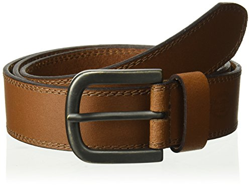 (Dickies 100% Leather Jeans Belt with Stitch Design and Prong Buckle, Tan, 32)