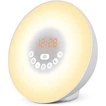 Sunrise Alarm Clock - LAPUTA Wake Up Light Alarm Clock with 6 Nature Sounds, FM Radio, 7 Colors Night Light, Smart Snooze Function and Touch Control