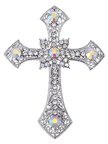 Reizteko Religious Brooch for Women Men Rhinestone Crystal Brooch Pins Silver Plated (Valentines Day Gift) -
