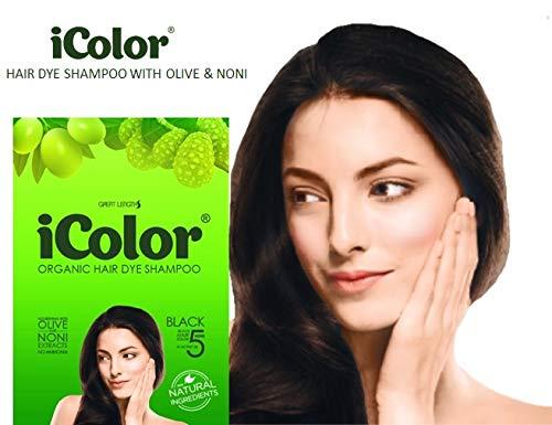 Black Hair Color Enhancing Shampoo - iColor Organic Hair Dye Shampoo Black 25ml (0.85 ounces) x 10 sachets in a box, shampoo-in permanent hair color, dye, black hair in 5 minutes, DIY, convenient, easy to use blackening shampoo