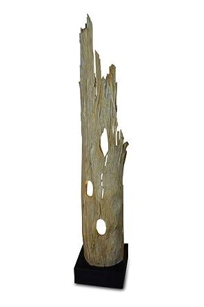 127 cm - Lámpara de pie de madera con pinchos madera ranong ...