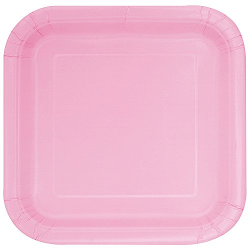 Square Light Pink Paper Plates, - Pink Dinner Plates 9