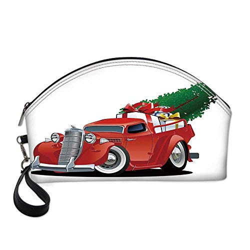 Christmas Small Portable Cosmetic Bag,Vintage American Truck with Large Xmas Tree and Gift Boxes in Pickup Retro Vehicle Decorative For Women,One size