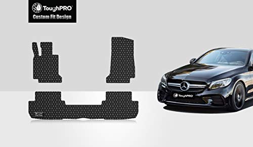 ToughPRO Floor Mats Set Compatible with Mercedes-Benz C Class Coupe Only - All Weather - Heavy Duty - Black Rubber - 2015-2019