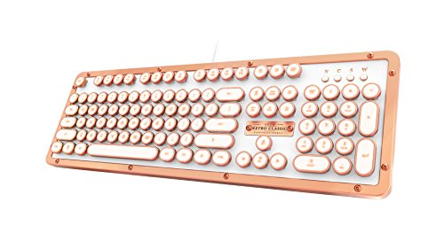 Azio MK-RETRO-L-02-US Retro Classic Posh - USB Luxury Vintage Back lit Mechanical Keyboard (Blue Switch, White Leather, Zinc Alloy Frame) - White/Copper -