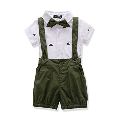 FERENYI US Baby Boys Bowtie Gentleman Romper Jumpsuit Overalls Rompers (7-12 Months, Green)