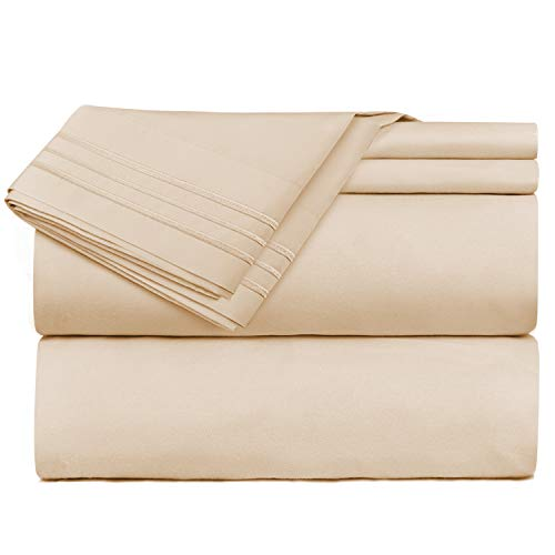 Nestl Bedding 3 Piece Sheet Set - 1800 Deep Pocket Bed Sheet Set - Hotel Luxury Double Brushed Microfiber Sheets - Deep Pocket Fitted Sheet, Flat Sheet, Pillow Cases, Twin - Beige
