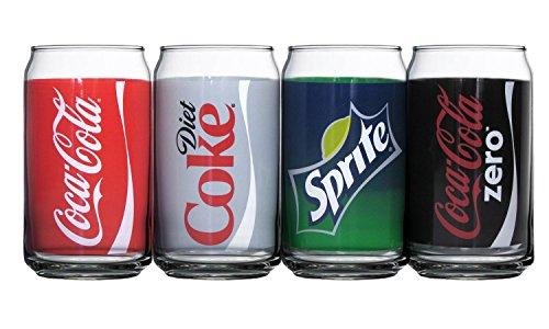 (Luminarc Coca-Cola Assorted Decorated Cans, Includes Coke, Diet Coke, Coke Zero and Sprite (Set of 4), 16 oz)